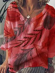 זול -בגדי ריקוד נשים נוף עלה טרופי חולצה - דפוס צווארון עגול בוהו חוף אביב קיץ לבן פול אודם צהוב תלתן S M L XL 2XL