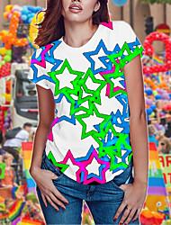 Недорогие -женская повседневная уличная шикарная рубашка - цвет / квадратная шея с цветным принтом