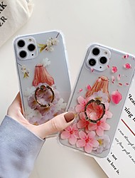 cheap -Case for Apple scene map iPhone 11 11 Pro 11 Pro Max X XS XR XS Max Beauty flower pattern translucent fine matte TPU material IMD process four-corner drop ring bracket all-inclusive mobile phone case