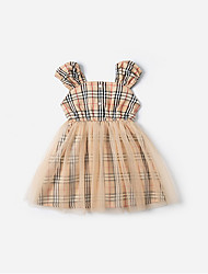 cheap -Kids Girls' Plaid Dress Beige