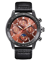 cheap -Men's Dress Watch Quartz Genuine Leather 30 m Water Resistant / Waterproof Calendar / date / day Day Date Analog Fashion Cool - Red+Brown Black Brown One Year Battery Life