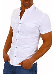 Недорогие -Муж. Однотонный Рубашка Повседневные Белый / Черный / С короткими рукавами
