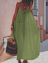 Недорогие -Жен. Платье на бретелях Длинное платье - Без рукавов Сплошной цвет Лето На каждый день 2020 Белый Синий Желтый Розовый Зеленый S M L XL XXL XXXL