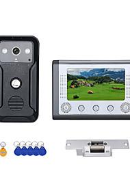 Недорогие -7-дюймовый цветной видеодомофон дверной телефон RFID-система с HD дверной звонок 1000tvl камера с электрическим замком удара