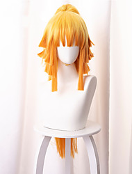 cheap -Demon Slayer: Kimetsu no Yaiba Agatsuma Zenitsu Cosplay Wigs Women's Asymmetrical With Ponytail 35 inch Heat Resistant Fiber Curly Orange Adults' Anime Wig