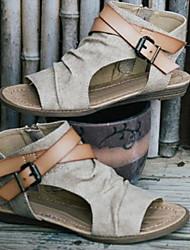 cheap -Women's Sandals Summer Flat Heel Peep Toe Daily PU Dark Brown / Black / Beige