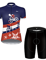 cheap -21Grams Women's Short Sleeve Cycling Jersey with Shorts Nylon Polyester Black / Blue American / USA National Flag Bike Clothing Suit Breathable Quick Dry Ultraviolet Resistant Reflective Strips