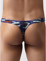 abordables -Homme Imprimé G-string Sous-vêtements - Normal Taille basse Bleu S M L