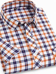 cheap -Men's Plaid Print Shirt Daily Button Down Collar Orange / Short Sleeve