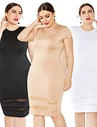 cheap -Women's Wrap Dress Midi Dress - Short Sleeves Solid Color Mesh Patchwork Summer Formal Elegant Party Going out 2020 White Black Khaki XL XXL XXXL XXXXL XXXXXL