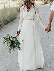 cheap -A-Line Wedding Dresses Jewel Neck Sweep / Brush Train Lace Chiffon Over Satin Long Sleeve Beach Boho Sexy See-Through with Embroidery 2020