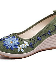 cheap -Women's Loafers & Slip-Ons Spring / Fall & Winter Wedge Heel Round Toe Vintage Chinoiserie Daily Satin Flower Floral Linen Red / Green / Blue