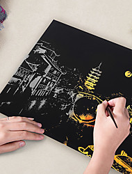 cheap -Drawing Toy Scratch Art Set Magic Scratch Paper City Pure Paper Painting Creative Kid's Boys and Girls for Birthday Gifts or Party Favors