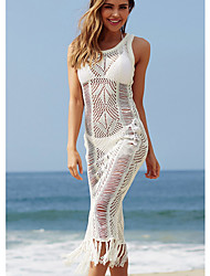 cheap -Women's A Line Dress - Sleeveless Solid Color Summer Elegant Sexy 2020 White Black Blushing Pink One-Size S M L XL