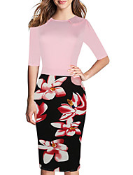 cheap -Women's Bodycon Dress - Half Sleeve Floral Summer Work 2020 Blue Blushing Pink XL XXL XXXL XXXXL XXXXXL