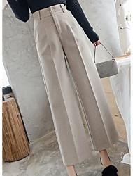 cheap -Women's Basic Wide Leg Pants - Solid Colored Black Khaki Beige S M L