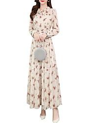 cheap -Women's A Line Dress - Long Sleeve Floral Summer Work 2020 White Black Blushing Pink S M L XL XXL XXXL XXXXL