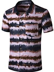 cheap -Men's Plaid Print Shirt Tropical Daily Button Down Collar Wine / Short Sleeve
