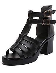 cheap -Women's Sandals Summer Chunky Heel Peep Toe Daily PU Black