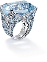 cheap -Personalized Customized Blue Cubic Zirconia Ring Classic Gift Promise Festival Geometric 1pcs Silver