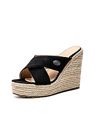 cheap -Women's Sandals Wedge Sandals 2020 Heel Sandals Summer Wedge Heel Peep Toe Minimalism Daily Party & Evening Solid Colored Suede Dark Brown / Black / Beige