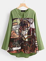 billige -Dame Abstrakt Trykt mønster Skjorte Vintage Daglig Grønn / Navyblå