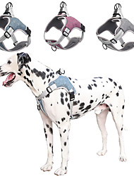 cheap -Dog Chest Harness Harness Reflective Portable Soft Cute and Cuddly Front Clip Easy Walk Safety Solid Colored British Polyester Small Dog Medium Dog Large Dog Purple Blue 1pc