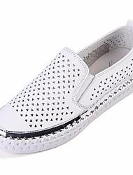 cheap -Women's Flats Summer Flat Heel Closed Toe Daily PU White / Black
