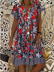 cheap -Women's Sheath Dress Knee Length Dress Short Sleeve Floral Summer Hot Elegant 2021 Red M L XL XXL 3XL 4XL 5XL