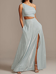 cheap -Two Piece Glittering Grey Holiday Prom Dress One Shoulder Sleeveless Floor Length Satin with Sleek Split 2020