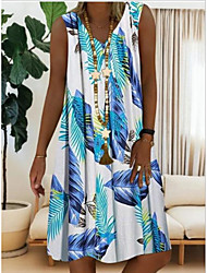cheap -Women's Shift Dress Midi Dress Sleeveless Geometric Summer Elegant Casual 2021 Red Light Blue S M L XL XXL 3XL 4XL 5XL