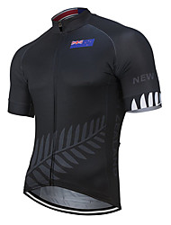cheap -21Grams Men's Short Sleeve Cycling Jersey Polyester Black New Zealand National Flag Bike Jersey Top Mountain Bike MTB Road Bike Cycling UV Resistant Breathable Quick Dry Sports Clothing Apparel