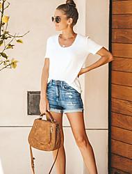 abordables -Femme Chic de Rue Fin de semaine Short Pantalon - Couleur Pleine Troué Extérieur Bleu clair S M L