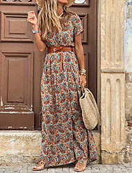 cheap -Women's Maxi long Dress Brown Short Sleeve Paisley Print Summer V Neck Hot Casual vacation dresses 2021 S M L XL XXL 3XL