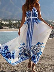 cheap -Women's Chiffon Dress Maxi long Dress - Sleeveless Floral Summer Sexy Chinoiserie 2020 White S M L XL
