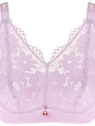 cheap -Women's Wireless Lace Bras Full Coverage Bra Lace Black Purple Beige