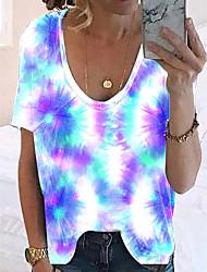 halpa -Naisten Color Block T-paita V kaula-aukko Päivittäin Kesä Uima-allas Purppura Rubiini S M L XL 2XL