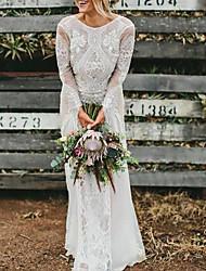 cheap -A-Line Wedding Dresses Jewel Neck Sweep / Brush Train Chiffon Lace Long Sleeve Beach Boho Sexy with 2021