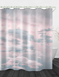 cheap -Pink Cloud Digital Print Waterproof Fabric Shower Curtain for Bathroom Decor Polyester Bathtub Curtains with Hooks1pc