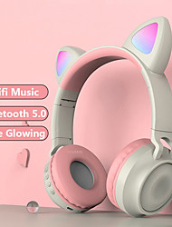 cheap -Cute Wireless Headphones Glowing Bluetooth 5.0 Headphones For Girls Cat Ear Headset HiFi Stereo Music With Microphone For Game