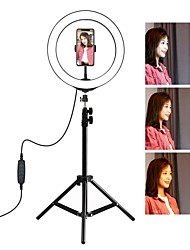 cheap -PULUZ PKT3035 10 Inch USB Video Ring Light 110cm Light Stand Dual Phone Clip for Tik Tok Youtube Live Streaming Photo Studio Kit