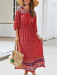 cheap -Women's A-Line Dress Midi Dress - Half Sleeve Floral Summer Elegant Boho 2020 Black Red Royal Blue S M L XL