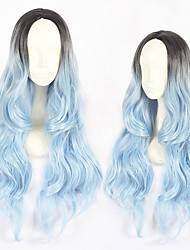 cheap -halloweencostumes Cosplay Costume Wig Cosplay Wig Lolita Curly Cosplay Halloween Middle Part Wig Long Black / Blue Synthetic Hair 23 inch Women's Anime Cosplay Comfortable Blue