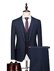 cheap -Tuxedos Tailored Fit / Standard Fit Notch Single Breasted One-button Cotton Blend / Cotton / Polyester Stripes