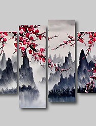 cheap -Oil Painting Hand Painted Any Shape Abstract Floral / Botanical Comtemporary Modern Stretched Canvas / Four Panels