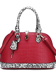 cheap -Women's Bags PU Leather Top Handle Bag Zipper Chain Snakeskin Leather Bags Daily Black Red