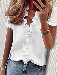cheap -Women's Solid Colored Ruffle Shirt Daily Vacation White / Blue / Yellow / Blushing Pink / Green / Gray