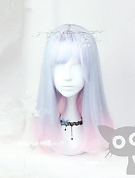 cheap -Cosplay Costume Wig Cosplay Wig Lolita Straight Cosplay Halloween Middle Part With Bangs Wig Medium Length Ombre Blue Synthetic Hair 18 inch Women's Anime Cosplay Ombre Hair Ombre