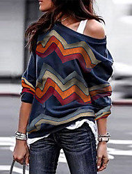 cheap -Women's Striped Pullover Long Sleeve Sweater Cardigans One Shoulder Fall Spring Navy Blue