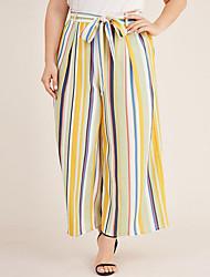 cheap -Women's Basic Loose Wide Leg Pants - Striped Yellow L / XL / XXL